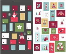 Lewis & Irene - Hygge Christmas - 5994 - Advent Calender on Black - C32.3 - Cotton Fabric